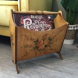 Vintage floral wood record holder